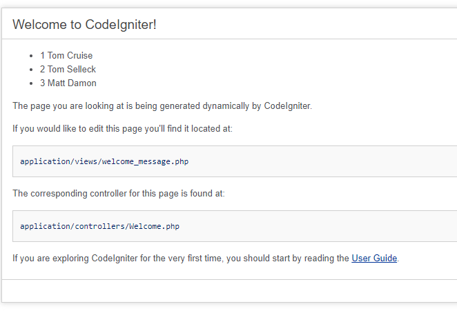 Image of the CodeIgniter Modified Default Welcome Page
