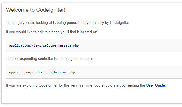 Image of the Codeigniter Default Welcome Page