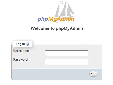 Image of the phpMyAdmin Login Form